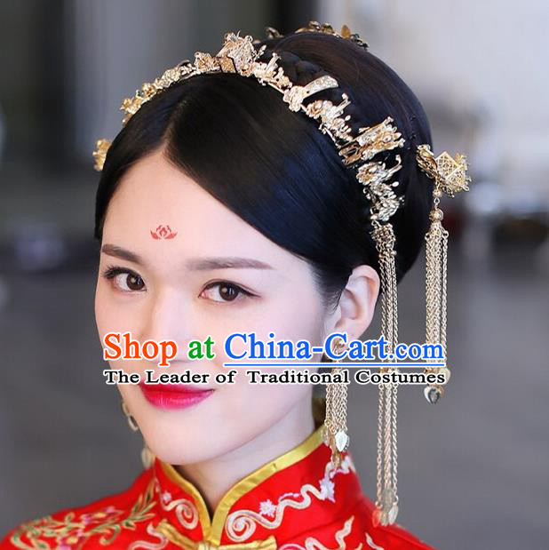 Traditional Handmade Chinese Ancient Wedding Hair Accessories Xiuhe Suit Phoenix Coronet Complete Set, Bride Tassel Step Shake Hanfu Hair Fascinators for Women