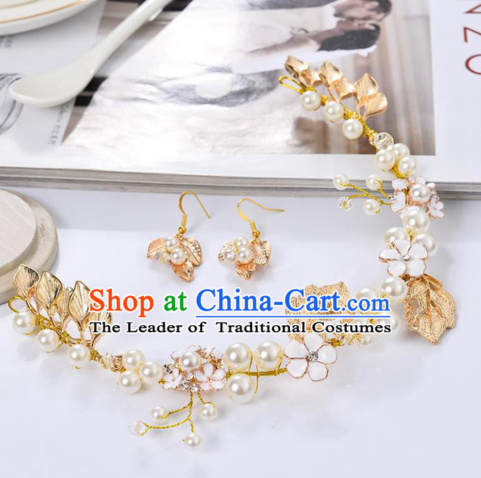 Top Grade Handmade Chinese Classical Jewelry Accessories Queen Wedding Golden Leaf Pearls Necklace and Earrings Bride Eardrop for Women