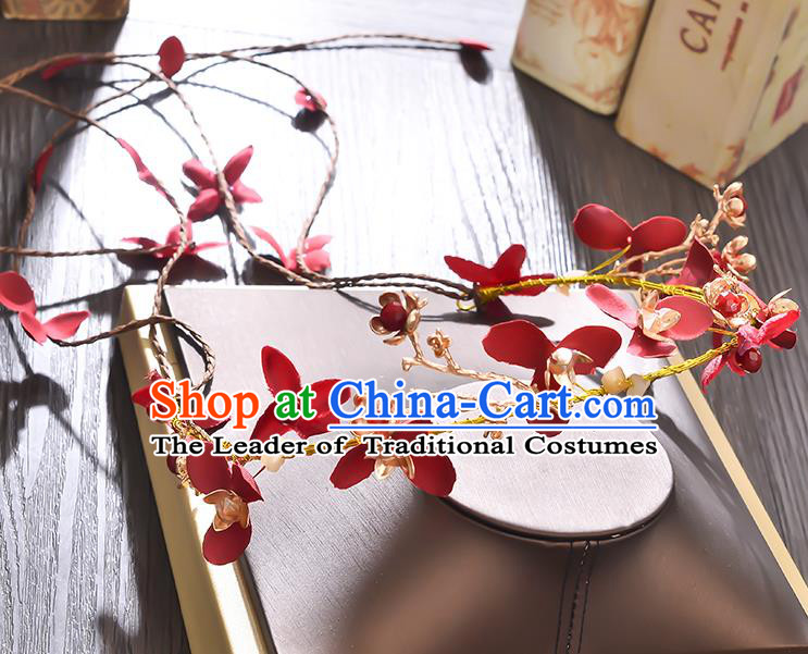 Top Grade Handmade Chinese Classical Hair Accessories Princess Wedding Red Flowers Hair Clasp Headband Bride Headwear for Women
