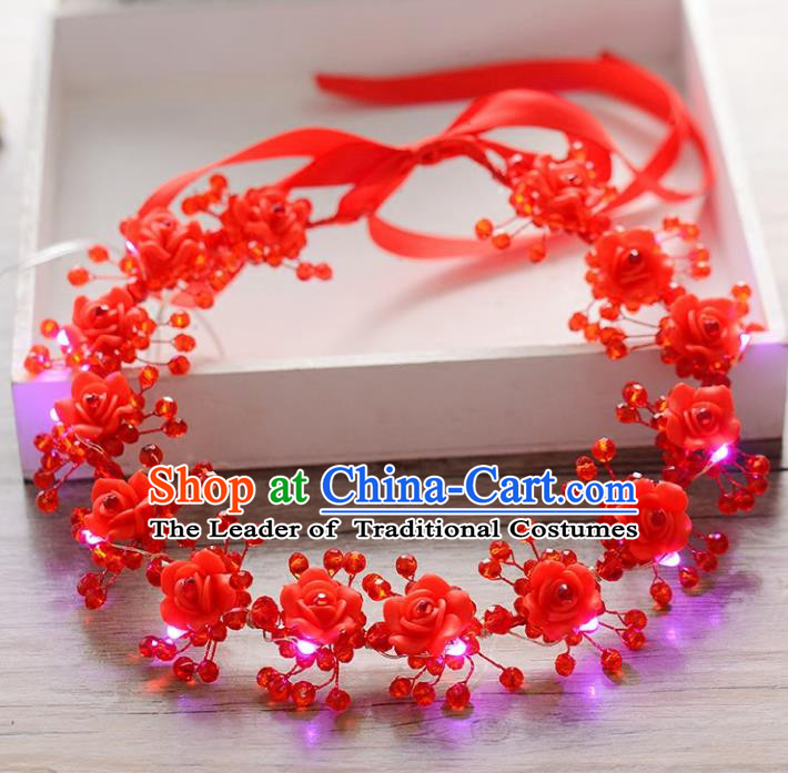 Top Grade Handmade Chinese Classical Hair Accessories Princess Wedding Polymer Clay Red Flowers Shiny Hair Clasp Headband Bride Headwear for Women