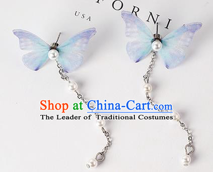 Top Grade Handmade Chinese Classical Jewelry Accessories Xiuhe Suit Wedding Blue Butterfly Tassel Earrings Bride Hanfu Eardrop for Women