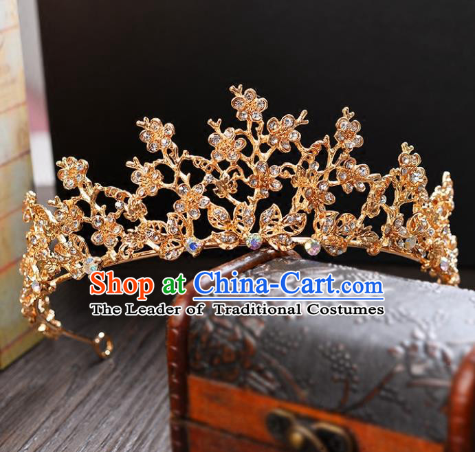 Top Grade Handmade Hair Accessories Baroque Style Palace Princess Wedding Crystal Vintage Golden Royal Crown, Bride Hair Kether Jewellery Imperial Crown for Women