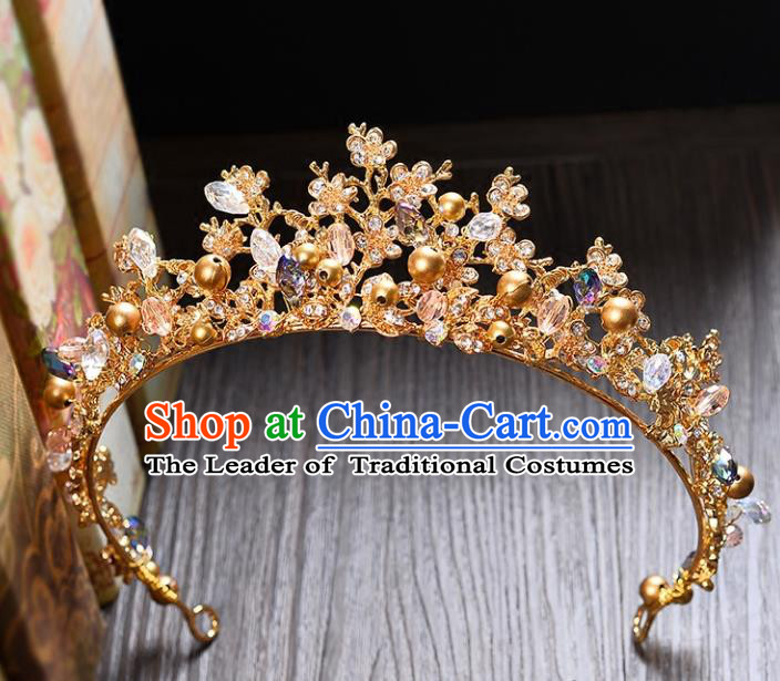 Top Grade Handmade Hair Accessories Baroque Style Palace Princess Wedding Crystal Beads Vintage Golden Royal Crown, Bride Hair Kether Jewellery Imperial Crown for Women