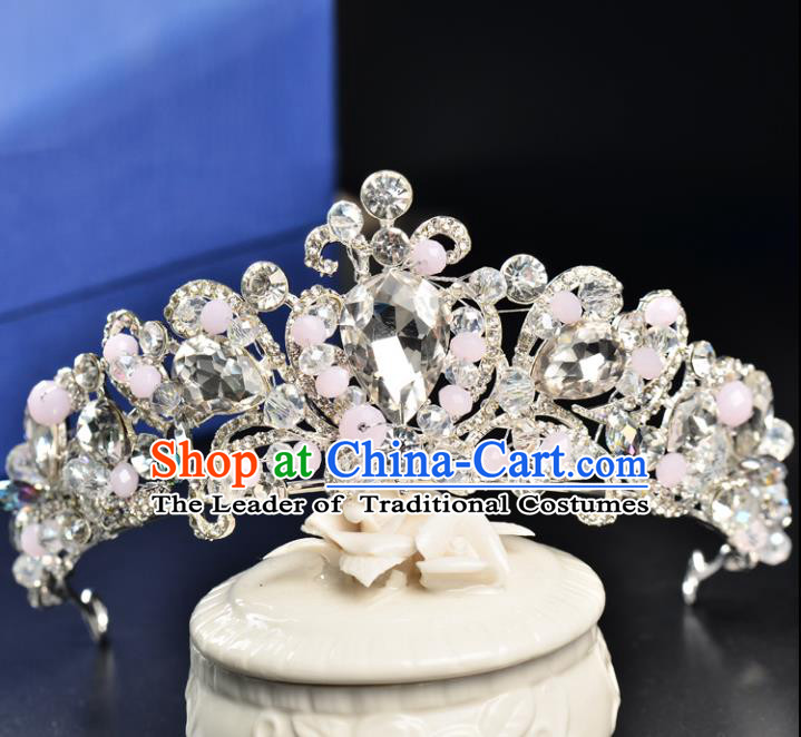 Top Grade Handmade Hair Accessories Baroque Style Palace Princess Wedding Crystal Pink Beads Vintage Royal Crown, Bride Hair Kether Jewellery Imperial Crown for Women