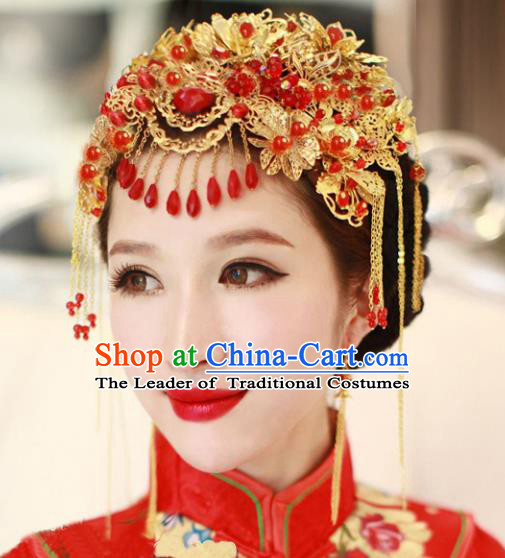 Traditional Handmade Chinese Ancient Wedding Hair Accessories Xiuhe Suit Tassel Phoenix Coronet, Bride Step Shake Hanfu Hair Fascinators for Women