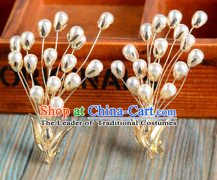 Top Grade Handmade Chinese Classical Hair Accessories Princess Wedding Pearls Golden Hair Claw Hair Stick Bride Headwear for Women
