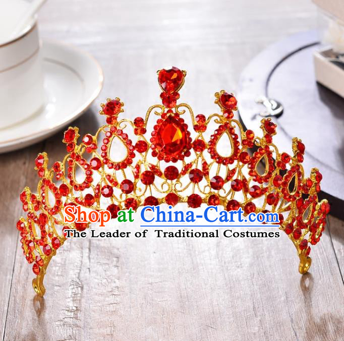 Top Grade Handmade Hair Accessories Baroque Style Wedding Princess Red Crystal Royal Crown, Bride Toast Hair Kether Jewellery Round Imperial Crown for Women