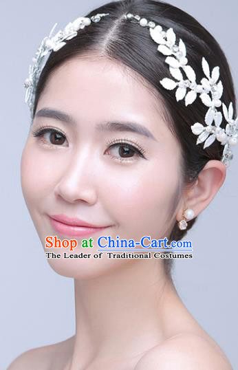 Top Grade Handmade Chinese Classical Hair Accessories Princess Wedding Crystal Leaf Hair Clasp Hair Stick Bride Headwear for Women