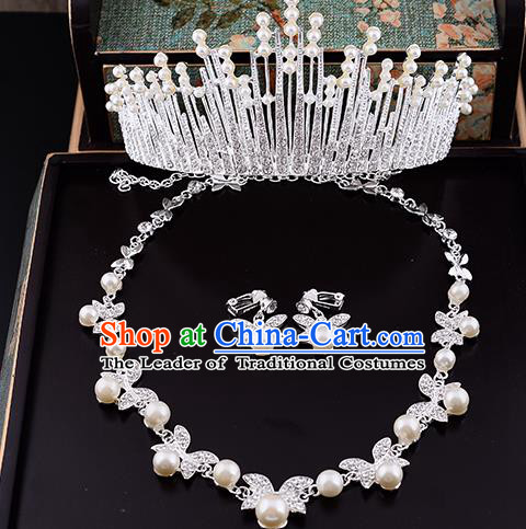 Top Grade Handmade Chinese Classical Jewelry Accessories Queen Wedding Crystal Bowknot Pearls Royal Crown Necklace and Earrings Bride Headgear for Women