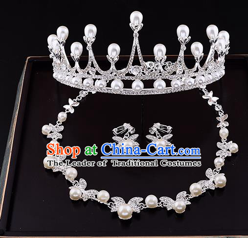 Top Grade Handmade Chinese Classical Jewelry Accessories Queen Wedding Pearls Royal Crown Necklace and Earrings Bride Headgear for Women