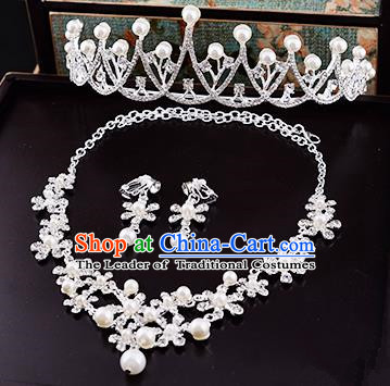 Top Grade Handmade Chinese Classical Jewelry Accessories Queen Wedding Crystal Flower Pearls Royal Crown Necklace and Earrings Bride Headgear for Women