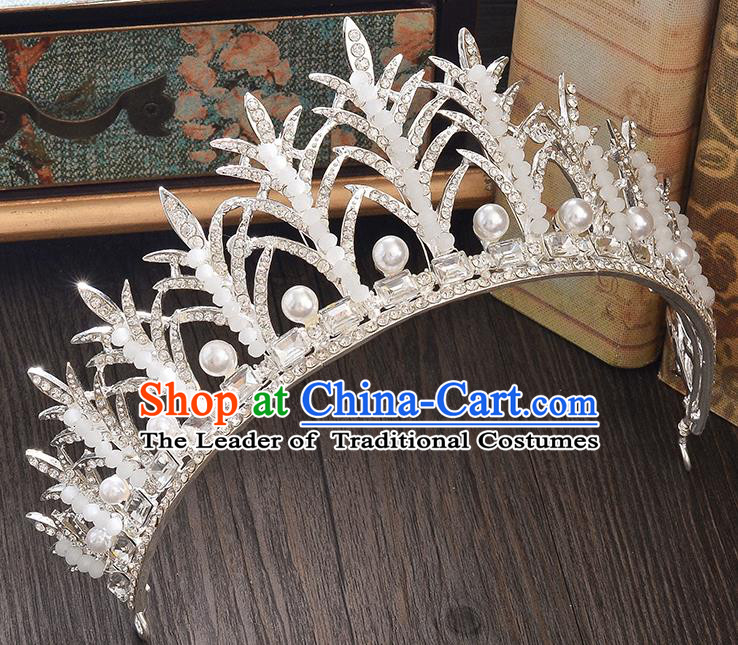 Top Grade Handmade Hair Accessories Baroque Style Wedding Princess Full Dress Crystal Beads Royal Crown, Bride Toast Hair Kether Jewellery Imperial Crown for Women
