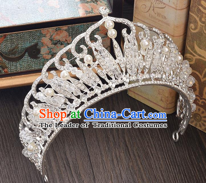 Top Grade Handmade Hair Accessories Baroque Style Wedding Princess Full Dress Crystal Beads Pearl Royal Crown, Bride Toast Hair Kether Jewellery Imperial Crown for Women