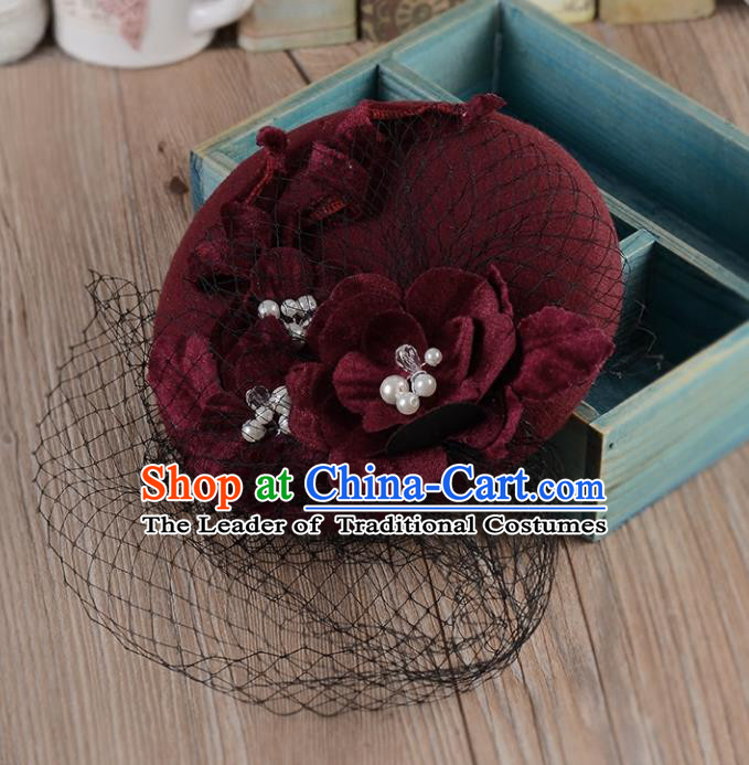 Top Grade Handmade Chinese Classical Hair Accessories Princess Wedding Wine Red Veil Hat Top Hat Bride Headwear for Women