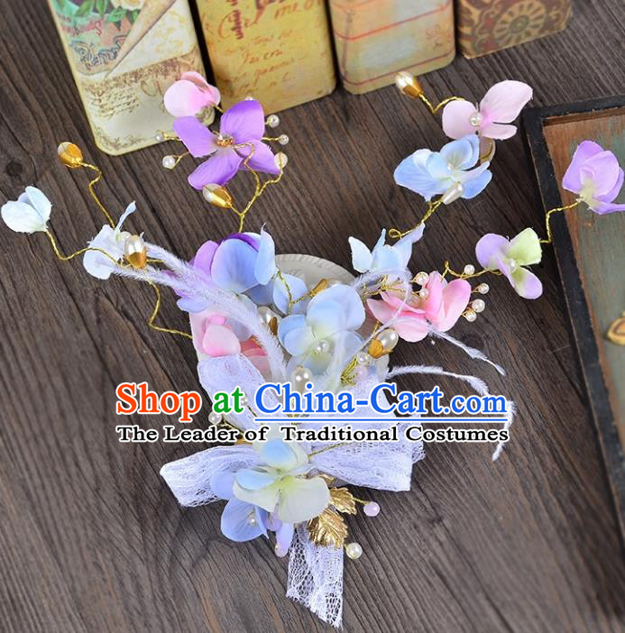 Top Grade Handmade Chinese Classical Hair Accessories Princess Wedding Lace Purple Flowers Hair Stick Bride Headwear for Women