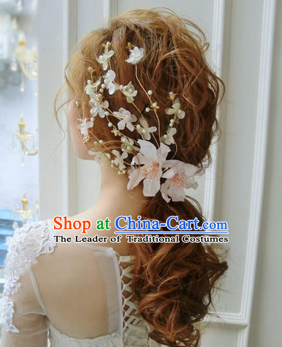 Top Grade Handmade Chinese Classical Hair Accessories Princess Wedding Pink Flowers Hair Stick Bride Headwear for Women