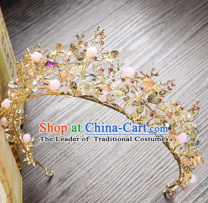 Top Grade Handmade Hair Accessories Baroque Style Wedding Princess Full Dress Golden Dragonfly Royal Crown, Bride Toast Hair Kether Jewellery Imperial Crown for Women