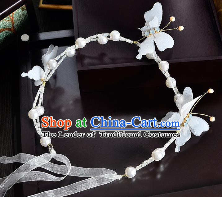 Top Grade Handmade Chinese Classical Hair Accessories Princess Wedding Pearls Flowers Butterfly Hair Clasp Bride Headwear for Women