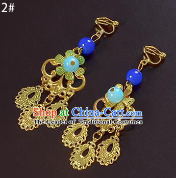 Top Grade Handmade Chinese Classical Jewelry Accessories Xiuhe Suit Wedding Golden Tassel Earrings Bride Hanfu Eardrop for Women