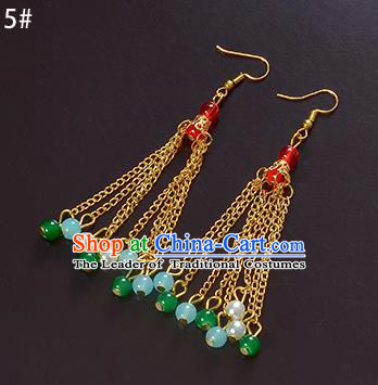 Top Grade Handmade Chinese Classical Jewelry Accessories Xiuhe Suit Wedding Green Beads Tassel Earrings Bride Hanfu Eardrop for Women