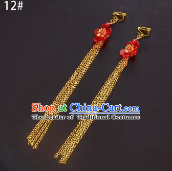 Top Grade Handmade Chinese Classical Jewelry Accessories Xiuhe Suit Wedding Ancient Costume Red Flower Golden Tassel Earrings Bride Hanfu Eardrop for Women