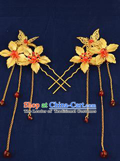 Traditional Handmade Chinese Ancient Wedding Hair Accessories Xiuhe Suit Golden Flower Hairpins, Bride Tassel Step Shake Hanfu Hair Sticks Hair Fascinators for Women