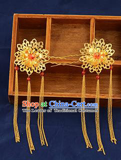 Traditional Handmade Chinese Ancient Wedding Hair Accessories Xiuhe Suit Golden Hairpins, Bride Tassel Step Shake Hanfu Hair Sticks Hair Fascinators for Women