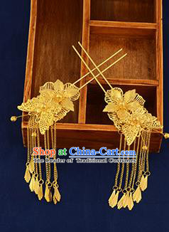 Traditional Handmade Chinese Ancient Wedding Hair Accessories Xiuhe Suit Ancient Costume Golden Tassel Hairpins, Bride Step Shake Hanfu Hair Sticks Hair Fascinators for Women