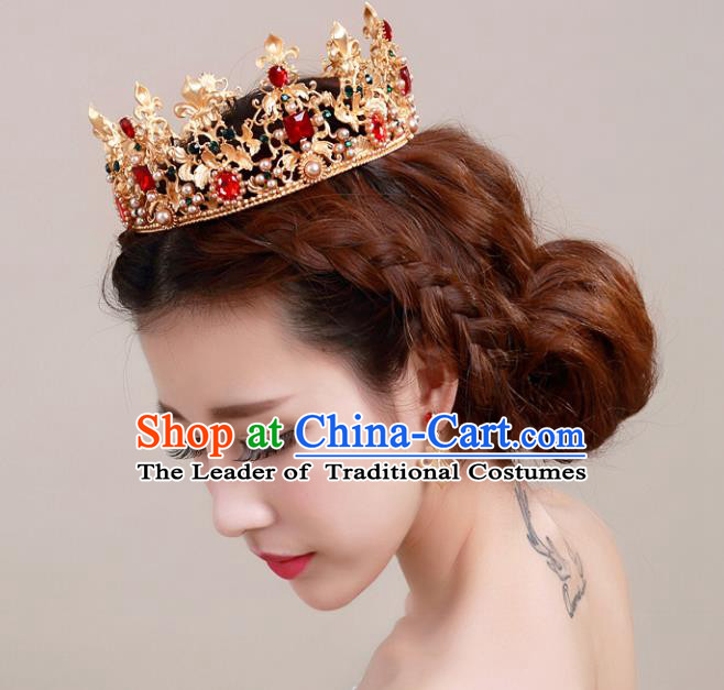 Top Grade Handmade Hair Accessories Baroque Style Palace Princess Wedding Red Crystal Golden Royal Crown, Bride Hair Kether Jewellery Imperial Crown for Women