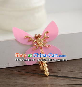 Top Grade Handmade Chinese Classical Hair Accessories Princess Wedding Pink Dragonfly Hair Stick Hair Claw Bride Headwear for Women