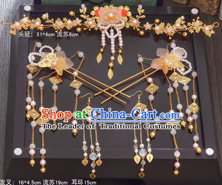 Traditional Handmade Chinese Ancient Wedding Hair Accessories Xiuhe Suit Butterfly Pearls Coronet Complete Set, Bride Palace Lady Step Shake Hanfu Hairpins for Women