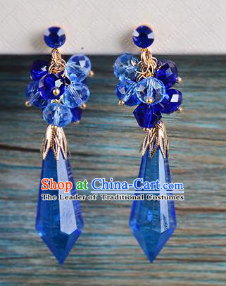 Top Grade Handmade Chinese Classical Jewelry Accessories Wedding Blue Crystal Tassel Earrings Bride Hanfu Eardrop for Women