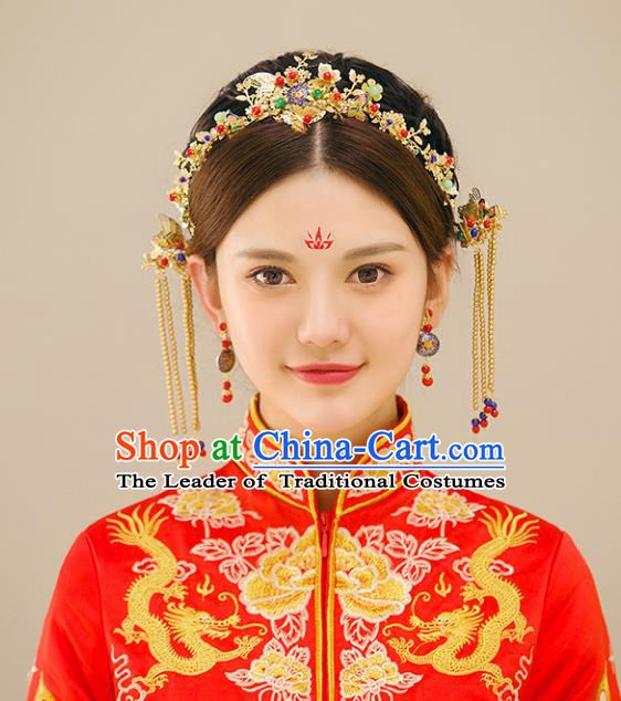 Traditional Handmade Chinese Ancient Wedding Hair Accessories Xiuhe Suit Butterfly Hair Clasp Complete Set, Bride Palace Lady Step Shake Hanfu Hairpins for Women