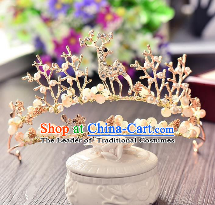 Top Grade Handmade Chinese Classical Hair Accessories Princess Wedding Baroque Golden Deer Hair Clasp Headband Bride Headwear for Women
