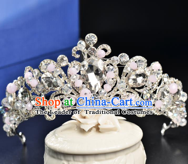 Top Grade Handmade Hair Accessories Baroque Style Palace Princess Wedding Crystal Vintage Round Royal Crown, Bride Hair Kether Jewellery Imperial Crown for Women