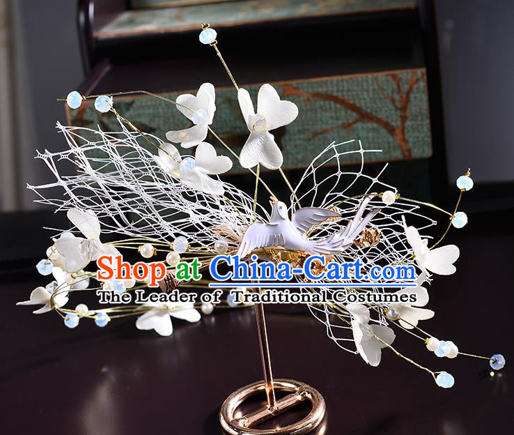 Top Grade Handmade Chinese Classical Hair Accessories Princess Wedding Baroque Silk Flowers Pigeons Hair Clasp Bride Headband Headwear for Women