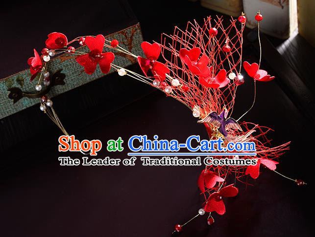 Top Grade Handmade Chinese Classical Hair Accessories Princess Wedding Baroque Red Silk Flowers Veil Hair Clasp Bride Headband Headwear for Women