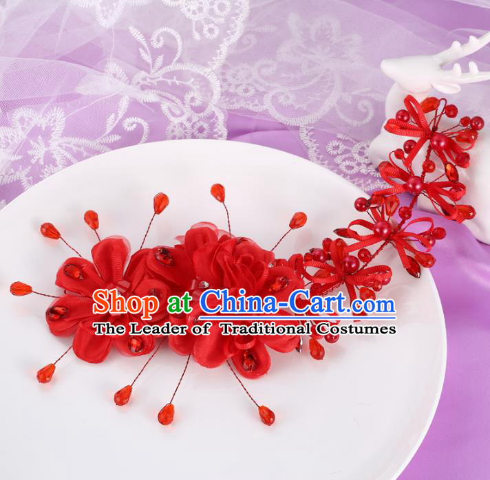 Top Grade Handmade Chinese Classical Hair Accessories Princess Wedding Xiuhe Suit Red Flowers Hair Stick Bride Headband Headwear for Women