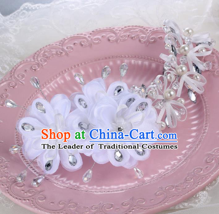 Top Grade Handmade Chinese Classical Hair Accessories Princess Wedding Xiuhe Suit White Flowers Hair Stick Bride Headband Headwear for Women