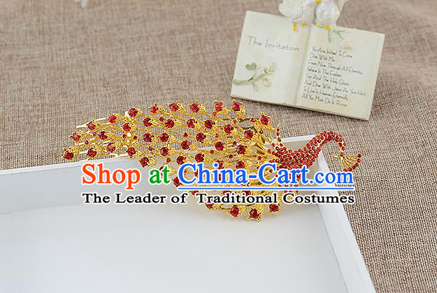 Top Grade Handmade Hair Accessories Baroque Luxury Red Crystal Peacock Hair Stick, Bride Wedding Hair Kether Jewellery Princess Imperial Crown for Women