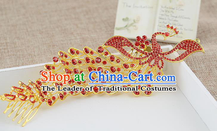 Top Grade Handmade Hair Accessories Baroque Luxury Red Crystal Phoenix Hair Stick, Bride Wedding Hair Kether Jewellery Princess Imperial Crown for Women