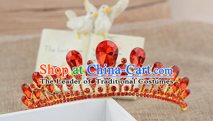 Top Grade Handmade Hair Accessories Baroque Luxury Red Crystal Hair Comb, Bride Wedding Hair Kether Jewellery Princess Imperial Crown for Women