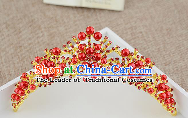Top Grade Handmade Hair Accessories Baroque Luxury Red Beads Hair Comb, Bride Wedding Hair Kether Jewellery Princess Imperial Crown for Women