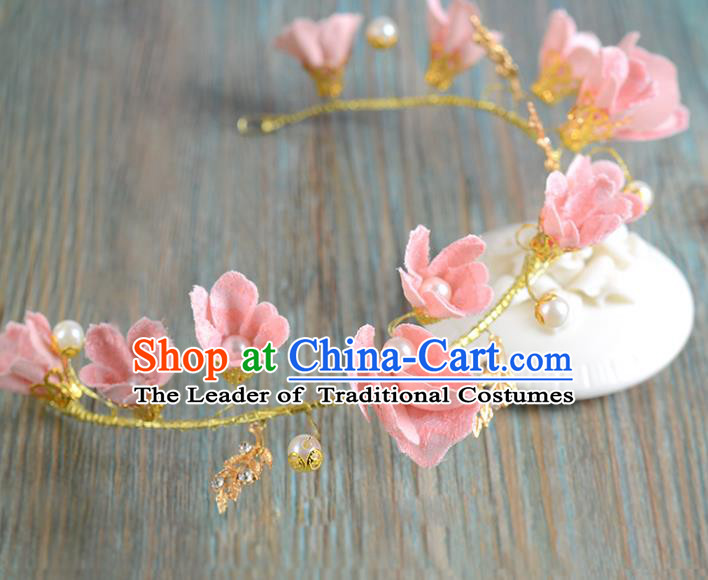 Top Grade Handmade Chinese Classical Hair Accessories Princess Wedding Baroque Pink Flowers Pearl Hair Clasp Bride Headband Headwear for Women