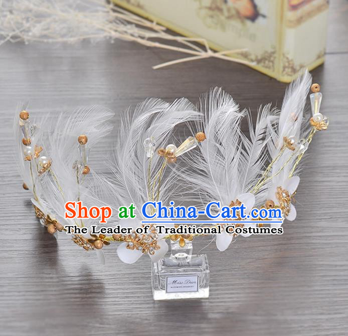 Top Grade Handmade Chinese Classical Hair Accessories Princess Wedding Baroque White Feather Hair Clasp Bride Headband Royal Crown for Women