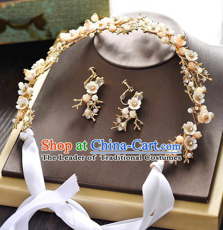 Top Grade Handmade Chinese Classical Hair Accessories Princess Wedding Baroque Flowers Garland Hair Clasp Bride Headband for Women