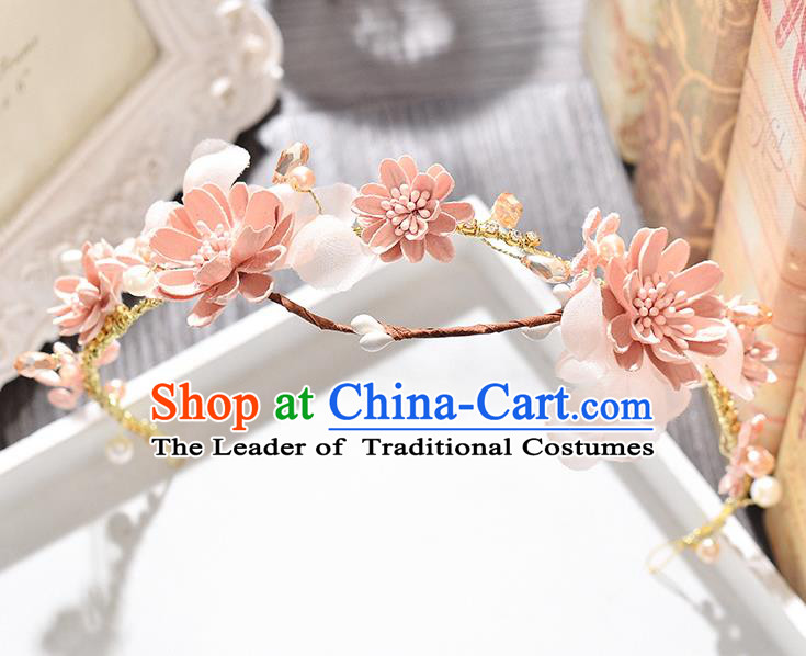 Top Grade Handmade Chinese Classical Hair Accessories Princess Wedding Baroque Pink Flowers Garland Hair Clasp Bride Headband for Women