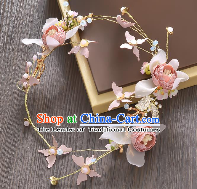 Top Grade Handmade Chinese Classical Hair Accessories Princess Wedding Baroque Pink Flowers Butterfly Garland Hair Clasp Bride Headband for Women