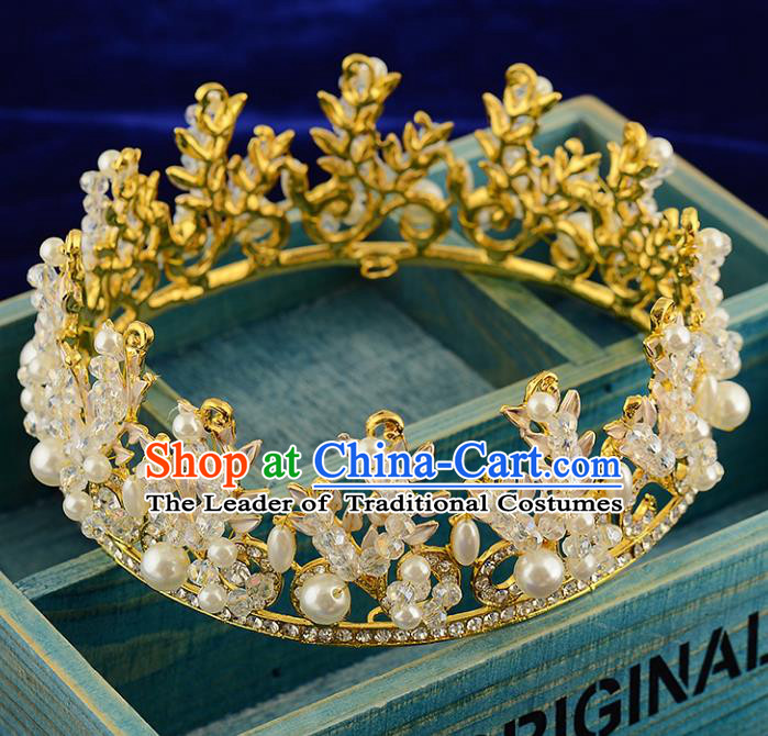 Top Grade Handmade Hair Accessories Baroque Luxury Crystal Pearls Round Royal Crown, Bride Wedding Hair Kether Jewellery Princess Golden Imperial Crown for Women
