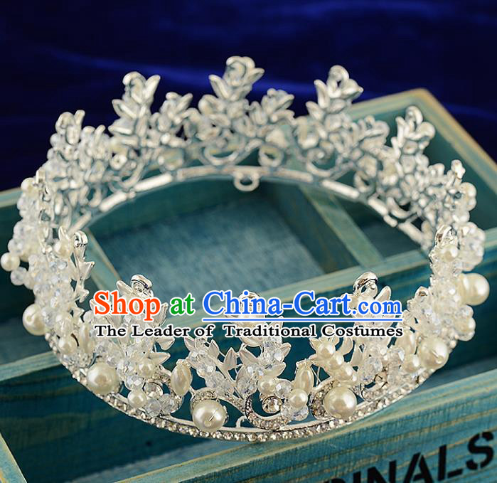 Top Grade Handmade Hair Accessories Baroque Luxury Crystal Pearls Round Royal Crown, Bride Wedding Hair Kether Jewellery Princess Imperial Crown for Women